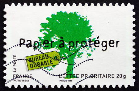 enduring: FRANCE - CIRCA 2008: a stamp printed in the France shows Enduring Desk, Environment Protection, circa 2008 Editorial
