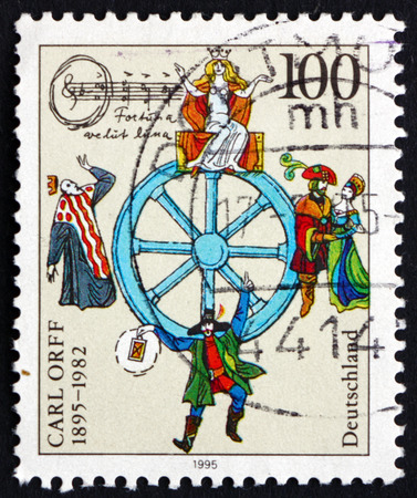 carl: GERMANY - CIRCA 1995: a stamp printed in the Germany shows Carl Orff, Composer, circa 1995 Editorial