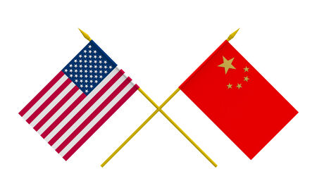 asian business meeting: Flags of China and USA, 3d render, isolated