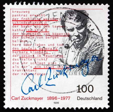 carl: GERMANY - CIRCA 1996: a stamp printed in the Germany shows Carl Zuckmayer, German Writer and Playwright, circa 1996