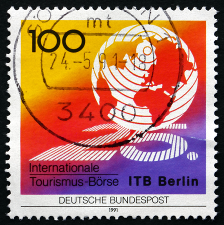 GERMANY - CIRCA 1991: a stamp printed in the Germany shows Globe, 25th International Tourism Exchange, Berlin, circa 1991