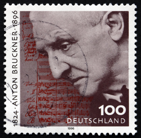 GERMANY - CIRCA 1996: a stamp printed in the Germany shows Anton Bruckner, Austrian Composer, circa 1996 Editöryel