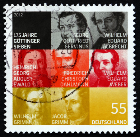 weber: GERMANY - CIRCA 2012: a stamp printed in the Germany shows The Gottingen Seven, 175th Anniversary, Group of Seven Professors from Gottingen, circa 2012