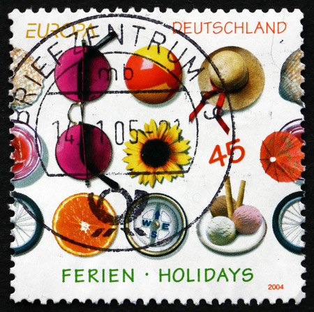 GERMANY - CIRCA 2004: a stamp printed in the Germany shows Different Impressions from Holidays, circa 2004