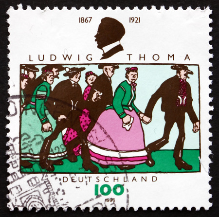 satirist: GERMANY - CIRCA 1996: a stamp printed in the Germany shows Scene from Book, Ludwig Thoma, German Author, Publisher, Satirist, circa 1996