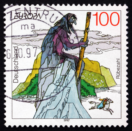 legends folklore: GERMANY - CIRCA 1997: a stamp printed in the Germany shows Rubezahl of Giant Mountains, Folklore Mountain Spirit, Subject of Many Legends and Fairy Tales, circa 1997