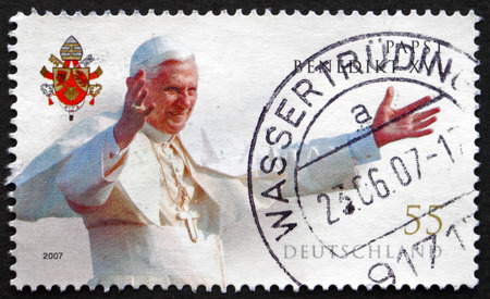 resignation: GERMANY - CIRCA 2007: a stamp printed in the Germany shows Pope Benedict XVI, Pope of the Catholic Church, Served from 2005 until His Resignation in 2013, circa 2007 Editorial