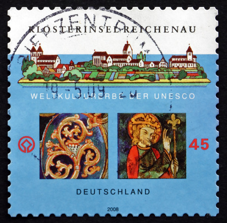 monastic sites: GERMANY - CIRCA 2008: a stamp printed in the Germany shows Monastic Island of Reichenau, is an Island in Lake Constance in Southern Germany, circa 2008