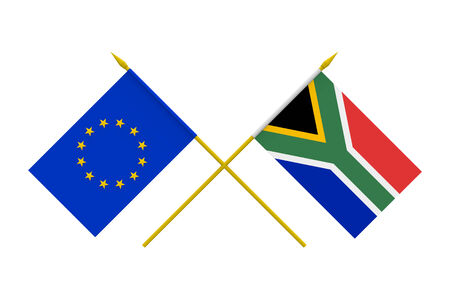 Flags of European Union and South Africa, 3d render, isolated photo