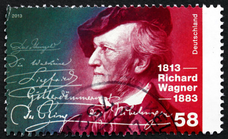 composer: GERMANY - CIRCA 2013: a stamp printed in the Germany shows Richard Wagner, Composer, Theatre Director, Polemicist and Conductor, circa 2013 Editorial