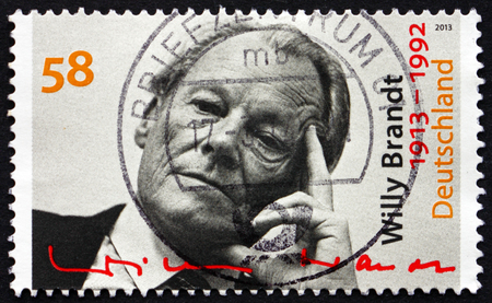 willy: GERMANY - CIRCA 2013: a stamp printed in the Germany shows Willy Brandt, German Statesman and Politician, Chancellor of the Federal Republic of Germany from 1969 to 1974, circa 2013