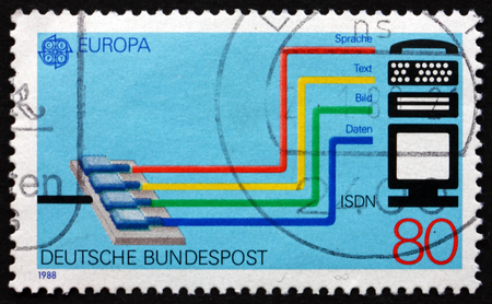 isdn: GERMANY - CIRCA 1988: a stamp printed in the Germany shows Integrated Services Digital Network ( ISDN ) System, circa 1988 Editorial