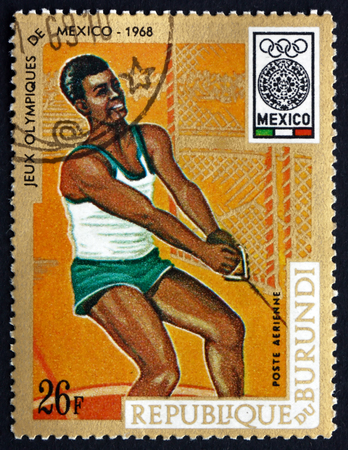 BURUNDI - CIRCA 1968: a stamp printed in Burundi shows Hammer Throw, 19th Olympic Games, Mexico City, circa 1968