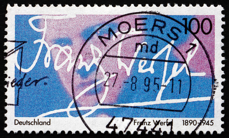novelist: GERMANY - CIRCA 1995: a stamp printed in the Germany shows Franz Werfel, Austrian-Bohemian Novelist, Playwright and Poet, circa 1995 Editorial