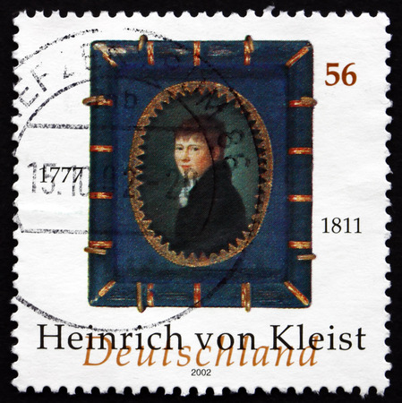 dramatist: GERMANY - CIRCA 2002: a stamp printed in the Germany shows Heinrich von Kleist, German Poet, Dramatist, Novelist and Short Story Writer, circa 2002 Editorial