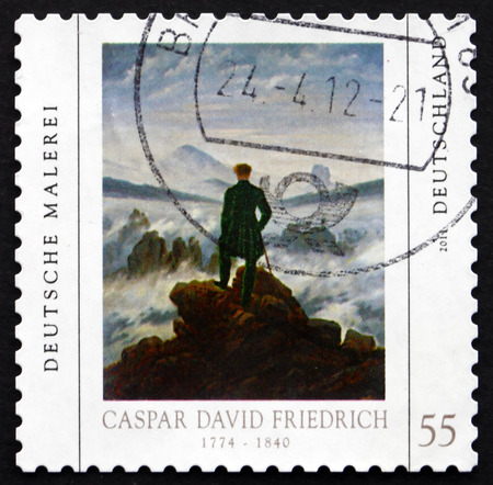 caspar: GERMANY - CIRCA 2011: a stamp printed in the Germany shows Wanderer above the Sea of Fog, Painting by Caspar David Friedrich, circa 2011