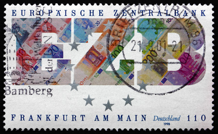 founding: GERMANY - CIRCA 1998: a stamp printed in the Germany shows Founding of the European Central Bank, Frankfurt am Main, circa 1998 Editorial