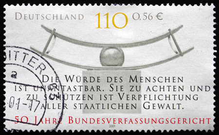 constitutional: GERMANY - CIRCA 2001: a stamp printed in the Germany shows Federal Constitutional Court, 50th Anniversary, circa 2001 Editorial