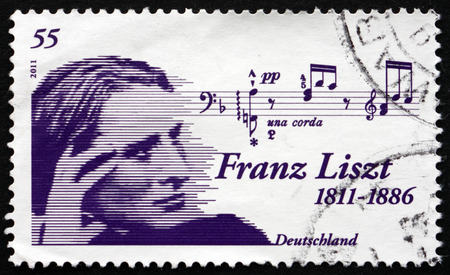 virtuoso: GERMANY - CIRCA 2011: a stamp printed in the Germany shows Franz Liszt, Hungarian Composer, Virtuoso Pianist, Conductor and Teacher, circa 2011 Editorial