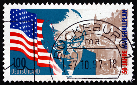 statesman: GERMANY - CIRCA 1997: a stamp printed in the Germany shows George C. Marshall, US general and statesman, Marshall Plan, 50th Anniversary, circa 1997 Editorial