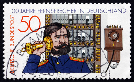 GERMANY - CIRCA 1977: a stamp printed in the Germany shows Telephone Operator and Switchboard, 1881, German Telephone Centenary, circa 1977