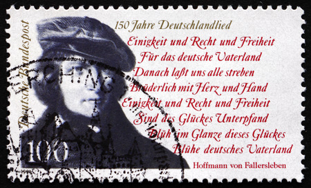 national poet: GERMANY - CIRCA 1991: a stamp printed in the Germany shows August Heinrich Hoffmann von Fallersleben, German Poet, Author of the National Anthem of Germany, circa 1991