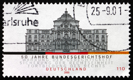 karlsruhe: GERMANY - CIRCA 2000: a stamp printed in the Germany shows Federal Court of Justice, Karlsruhe, 50th Anniversary, circa 2000