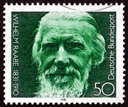 pseudonym: GERMANY - CIRCA 1981: a stamp printed in the Germany shows Wilhelm Raabe, German Novelist and Poet, circa 1981 Editorial