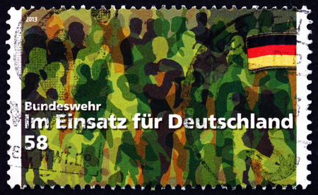 unified: GERMANY - CIRCA 2013: a stamp printed in the Germany shows Bundeswehr - Working for Germany, Unified Armed Forces of the Federal Republic of Germany, circa 2013