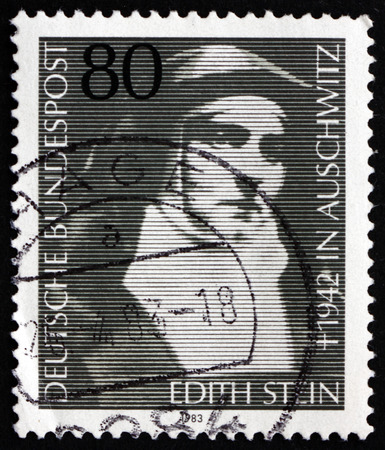 carmelite nun: GERMANY - CIRCA 1983: a stamp printed in the Germany shows Edith Stein, St. Teresa Benedicta of the Cross, German Jewish Philosopher who converted to Roman Catholic Church, circa 1983