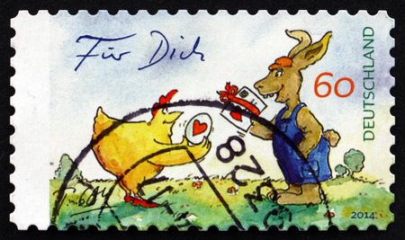 GERMANY - CIRCA 2014: a stamp printed in the Germany shows For You, The Easter Present, Gaymann Drawing, circa 2014