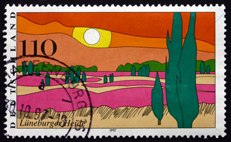 GERMANY - CIRCA 1997: a stamp printed in the Germany shows Luneburg Heath, large area of heath, geest and woodland in northern Germany, Scenic Region, circa 1997