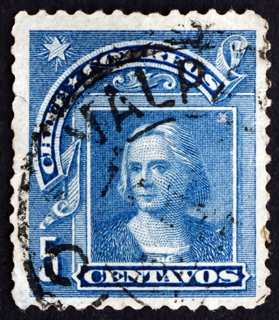colonizer: CHILE - CIRCA 1905: a stamp printed in the Chile shows Christopher Columbus, Cristobal Colon, Explorer, Colonizer, Navigator, circa 1905 Editorial