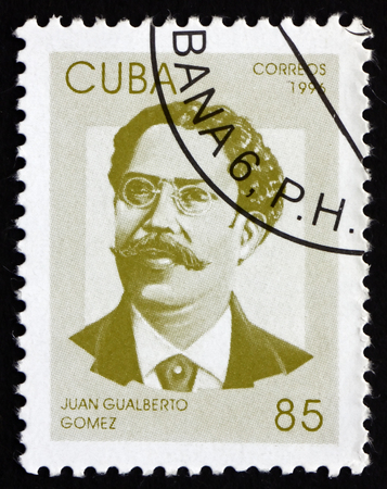gomez: CUBA - CIRCA 1996: a stamp printed in the Cuba shows Juan Gualberto Gomez, Revolutionary Leaser in the Cuban War of Independence, circa 1996