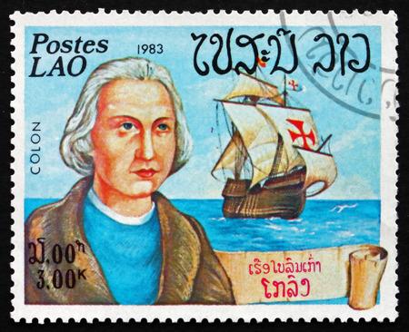 LAOS - CIRCA 1983: a stamp printed in Laos shows Christopher Columbus, Cristobal Colon, Explorer, Colonizer, Navigator and his Ship, Santa Maria, circa 1983