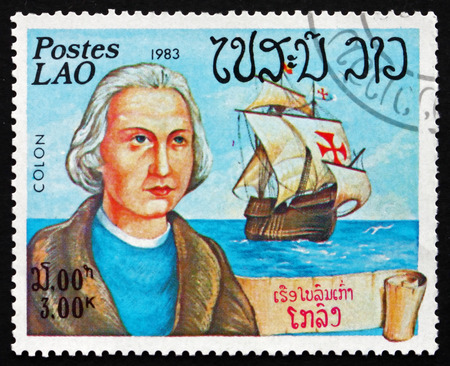 LAOS - CIRCA 1983: a stamp printed in Laos shows Christopher Columbus, Cristobal Colon, Explorer, Colonizer, Navigator and his Ship, Santa Maria, circa 1983