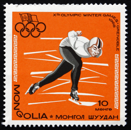 MONGOLIA - CIRCA 1967: a stamp printed in Mongolia shows Speed Skating, 10th Winter Olympic Games, Grenoble, France, circa 1967