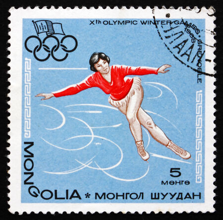 MONGOLIA - CIRCA 1967: a stamp printed in Mongolia shows Figure Skating, Ice Dancing, 10th Winter Olympic Games, Grenoble, France, circa 1967