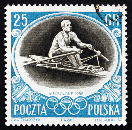 sculling: POLAND - CIRCA 1956: a stamp printed in the Poland shows Sculling, Summer Olympic sports, Melbourne 56, circa 1956