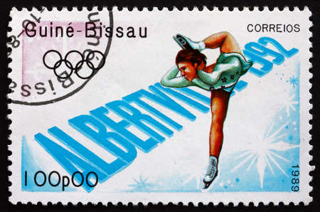 GUINEA-BISSAU - CIRCA 1989: a stamp printed in the Guinea-Bissau shows Figure Skating, 1992 Winter Olympics, Albertville, circa 1989