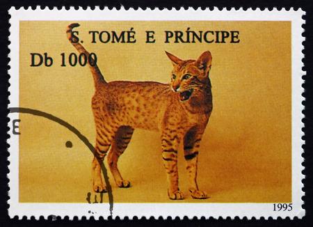 tome: SAO TOME AND PRINIPE - CIRCA 1995: a stamp printed in Sao Tome and Principe shows House Cat, Pet, circa 1995 Editorial