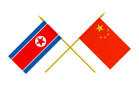 Flags of North Korea and China, 3d render, isolated photo