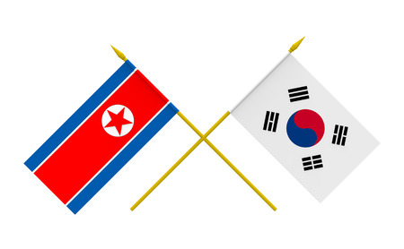 korea: Flags of North Korea and South Korea, 3d render, isolated