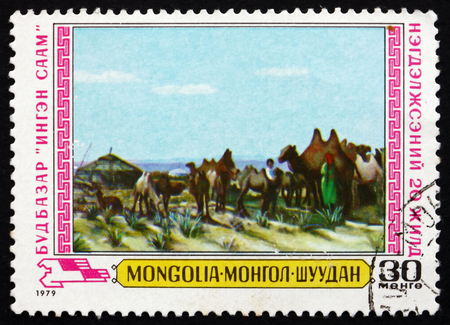 camel post: MONGOLIA - CIRCA 1979: a stamp printed in Mongolia shows Milking Camels, Painting, 20th Anniversary of 1st Agricultural Cooperative, circa 1979