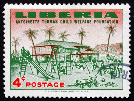 foundation problems: LIBERIA - CIRCA 1957: a stamp printed in the Liberia shows Orphanage and Orphanage Playground, Founding of the Antoinette Tubman Child Welfare Foundation, circa 1957