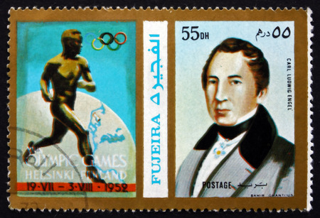 engel: FUJEIRA - CIRCA 1972: a stamp printed in the Fujeira shows Carl Ludwig Engel, German Architect, 1952 Olympic Games, Helsinki, circa 1972
