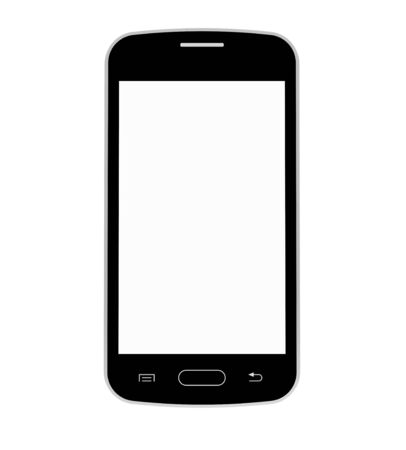 Black mobile phone with blank screen, smartphone, 3D render, isolated on white photo
