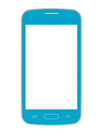 Blue mobile phone with blank screen, smartphone, 3D render, isolated on white photo