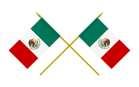 Two crossed flags of Mexico, 3d render, isolated on white