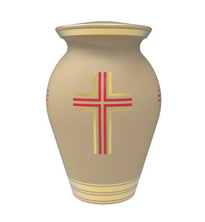 Cremation urn with cross, 3d render, isolated on white photo